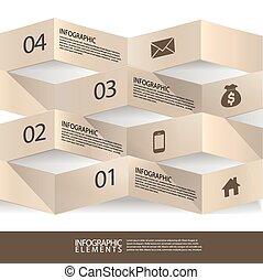 bannière, résumé, moderne, origami, infographic, 3d