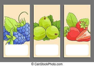 bannières, ensemble, fruits