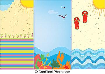 bannières, mer, dessins animés, vertical, format