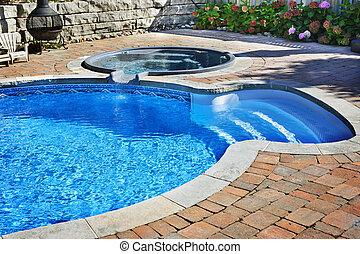 baquet chaud, piscine, natation