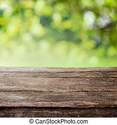 barrière, bois, pays, sommet, ou, rustique, table, planche