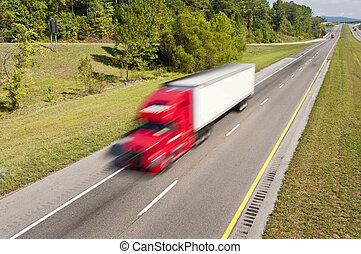 bas, expédier, camion, autoroute, semi