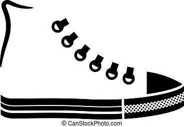 basket, toile, vecteur, chaussure noire, icône