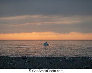 bateau, coucher soleil, sochi, secours, mer