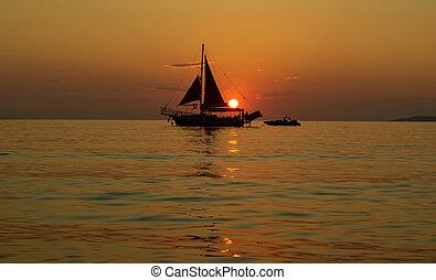 bateau, coucher soleil, voile, mer