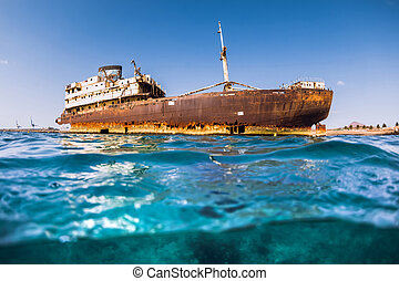 bateau, vieux, naufrage, océan, bleu, lanzarote