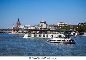 bateaux, croisière, budapest, rivière danube
