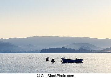 bateaux, mer, matin