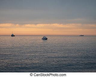 bateaux, soir, mer, triangle, trois