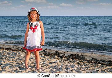 beau, été, peu, scène, girl, plage