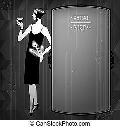 beau, 1920s, retro, fond, fille partie, style.
