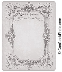 beau, carte postale, cadre, invitation, -, conception, retro, mariage, album