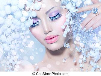 beau, coiffure, mode, hiver, neige, modèle, woman.