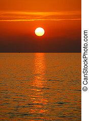 beau, coucher soleil, mer