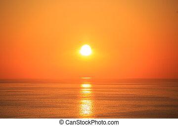 beau, coucher soleil, reflet, mer