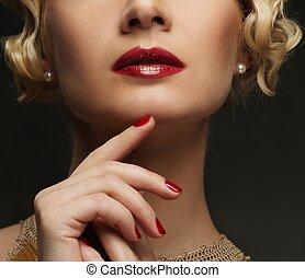 beau, gros plan, femme, coup, figure, lèvres, rouges
