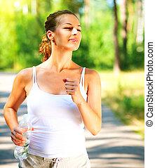 beau, jogging, femme, extérieur, sportif