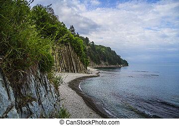 beau, kiseleva, côte, mer noire, rocher, paysage