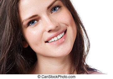 beau, parfait, femme, jeune, sourire, portrait