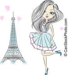 beau, paris, girl, mode, vecteur