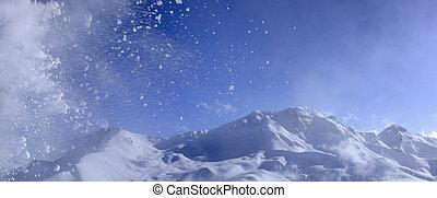 beau, paysage, hiver, vue