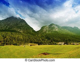 beau, paysage., montagnes, prés, ciel, dolimites