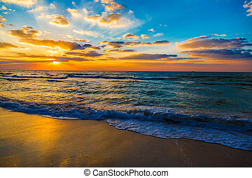 beau, plage, dubai, coucher soleil, mer, plage