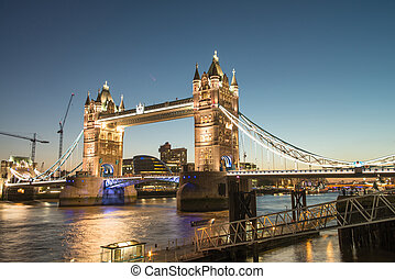 beau, pont, crépuscule, -, couleurs, londres, tour