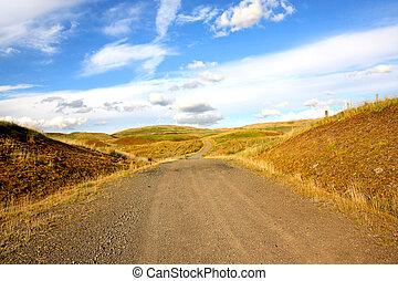 beau, rural, éoliennes, paysage
