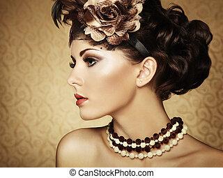beau, style, vendange, retro, portrait, woman.
