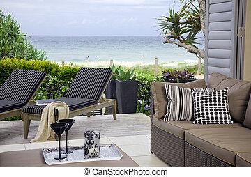beau, vues, océan, front mer, suite, plage
