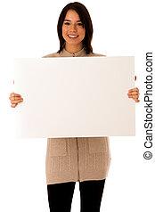 belle femme, sur, whiteboard, isolé, jeune, asiatique, fond, caucasien blanc