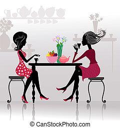 belles filles, cafés, silhouette