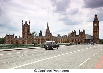 ben, horloge, grand, cathédrale westminster, tour, london.