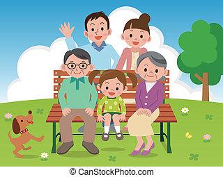 benc, heureux, parc, famille, séance