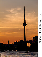 berlin, horizon, germa, crépuscule