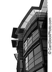 black/white., détail, bâtiment bureau