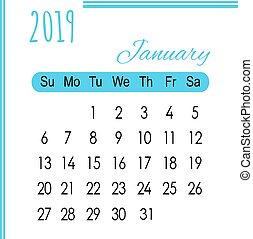 blanc, 2019, calendrier, fond, janvier, bleu