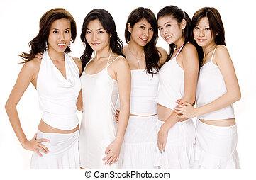 blanc, asiatique, #1, femmes
