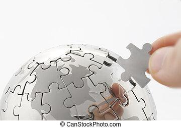 blanc, business, bâtiment, espace, globe, puzzle, messages, main, concept