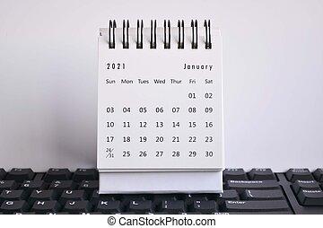 blanc, calendrier, clavier, janvier, arrière-plans, 2021