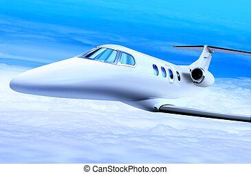 blanc, jet privé