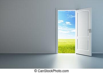 blanc, porte, salle, vide, ouvert