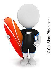 blanc, surfeur, 3d, gens