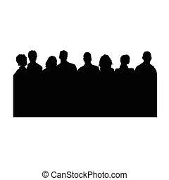 blanc, vecteur, silhouette, gens
