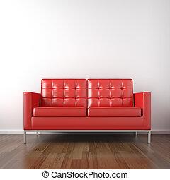 blanche salle, rouges, divan
