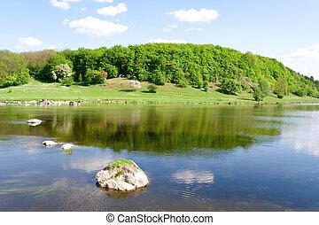 bleu, été, nature., rivière