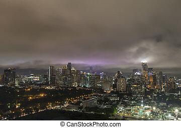 bleu, aérien, ville, ciel, nuageux, bangkok, orage, vue