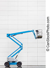 bleu, blanc, ascenseur, hydraulique, mur, bureau, devant, carrelé, plate-forme, moderne