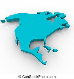bleu, carte, -, amérique nord